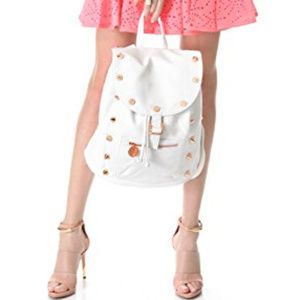 Deux Lux back pack purse white with gold studs